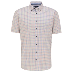 New 2021 Fynch Hatton Soft Compact Cotton Short Sleeve Shirt - Cactus Lava Check