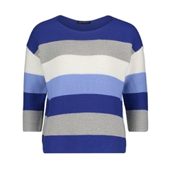 Betty Barclay Block Stripe Jumper - Blue