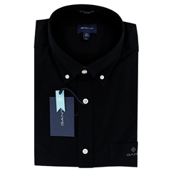 New 2021 Gant Beefy  Oxford Shirt - Black
