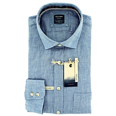 New 2021 Olymp Casual Modern Fit Linen Shirt - Sky Blue