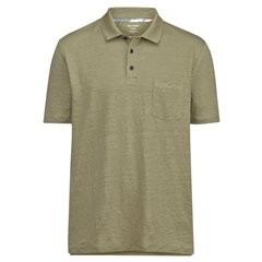 New 2021 Olymp Casual Modern Fit Linen Elastane Polo Shirt - Khaki Green