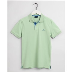New 2021 Gant Contrast Collar Pique Polo Shirt - Pastel Green