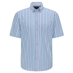 New 2021 Fynch Hatton  Supersoft Cotton Short Sleeve Shirt - Azure Stripe