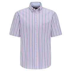 New 2021 Fynch Hatton  Supersoft Cotton Short Sleeve Shirt - Malaga Stripe