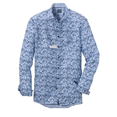 New 2021 Olymp Casual Modern Fit Linen Shirt - Sky Blue Design