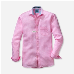 New 2021 Olymp Casual Modern Fit Linen Shirt - Pink