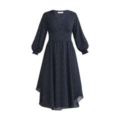 New Paisie Diamond Print Midi Dress - Navy