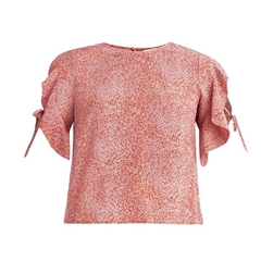 New Paisie Patterned Tie Sleeve Blouse - Red