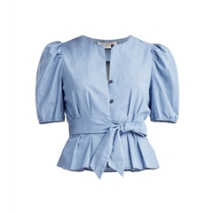 New Paisie Belted Denim Blouse - Blue
