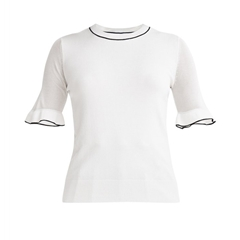 New Paisie Knitted Top With Sheer Sleeves - White