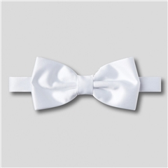 Classic Satin Ready Tied Bow Tie - White