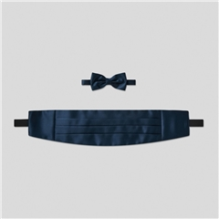 Classic Satin Cummerbund and Bow Tie Set - Navy