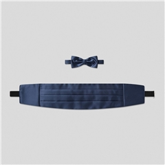 Classic Satin Cummerbund and Bow Tie Set - French Navy