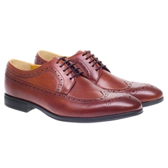 Steptronic Leather Brogue Shoes - Francis - Cognac