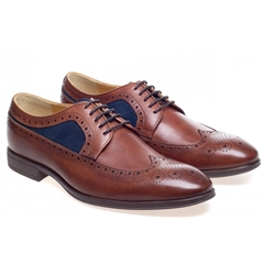 Steptronic Leather and Suede Brogue Shoes - Francis - Cognac Waxed Navy Suede