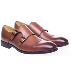 Steptronic Monk Shoes Twin Strap - Fresno - Cognac