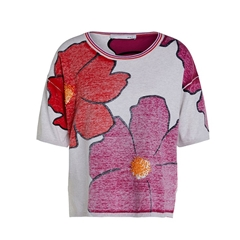 Oui Floral Lightweight Pullover - Red