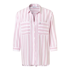 Just White Oversized Stripe Blouse - Pink