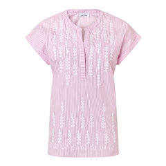 Just White Short Sleeve Embroidered Stripe Blouse - Pink