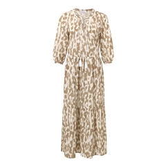 Just White Tiered Patterned Dress - Tan