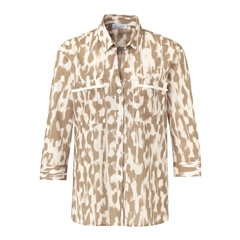 Just White Patch Pockets Blouse - Tan