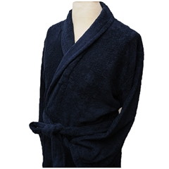 Plain Terry Towelling - Shawl Collar - Navy