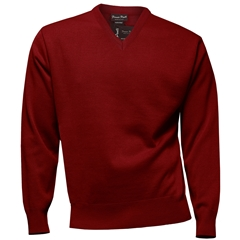 Franco Ponti Classic Vee Neck Sweater - Medium Weight - Red