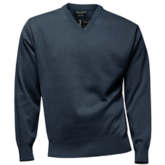 Franco Ponti Classic Vee Neck Sweater - Medium Weight - Dark Denim