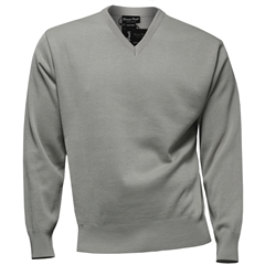 Franco Ponti Classic Vee Neck Sweater - Medium Weight - Silver