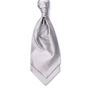 Men's Silk Shantung Wedding Cravat- Silver