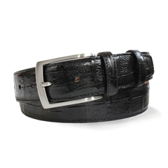 Black Leather Crocodile Skin Belt by Robert Charles