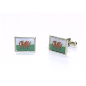 Welsh Flag Enamel Cufflinks