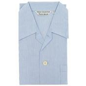 Men's Derek Rose Cotton Pyjamas - Blue Hairline - Tie Waist