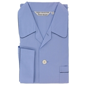 Men's Derek Rose Cotton Pyjamas - Plain Sky Blue - Elasticated Waist
