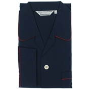 Men's Derek Rose Cotton Pyjamas - Plain Navy - Elasticated Waist