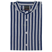 Grandad Collar Nightshirt - Blue Stripe