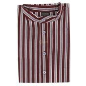 Grandad Collar Nightshirt - Wine Stripe