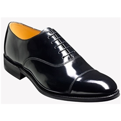 Barker Cheltenham Shoes - Dainite Rubber-Soled Oxford - Black Hi-Shine