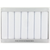 Cotton Men's Handkerchiefs Box Of 7 White Handkerchiefs - Silver Box