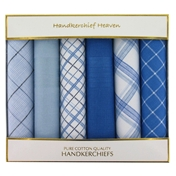 Cotton Men's Handkerchiefs Box Of 6 Blue Handkerchiefs - Box Of 6 Blue Plain and Pattern Handkerchiefs