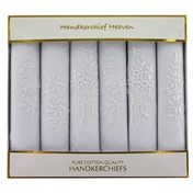 Six Assorted White Monochrome Flower Ladies Handkerchiefs