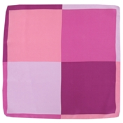 Silk Pocket Handkerchief - Four Quaters With Borders Of Opposite Colours - Pink