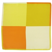 Silk Pocket Handkerchief - Four Quaters With Borders Of Opposite Colours - Orange / Yellow