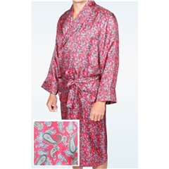 Men's Silk Dressing Gown - Red Paisley Design - Size XXL Only