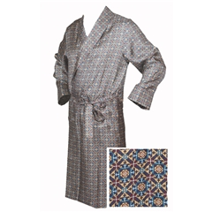 Men's Silk Dressing Gown - Neat Blue Design