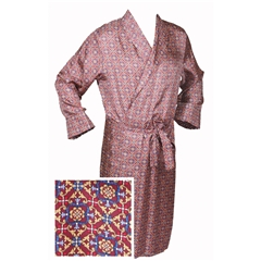Men's Silk Dressing Gown - Neat Maroon Design
