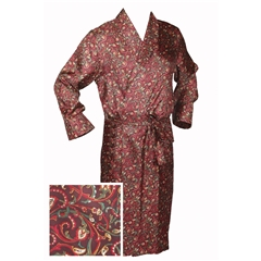 Men's Silk Dressing Gown - Maroon Paisley Swirl Design - Size XXL Only