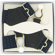 Gentleman's Sock Suspenders - Navy Yellow Pindot