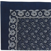 Navy Patterned Handkerchief - Navy Leaf Design Large Handkerchief