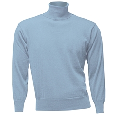 Men's Fine Merino Wool Franco Ponti Roll Neck Sweater - Light Blue